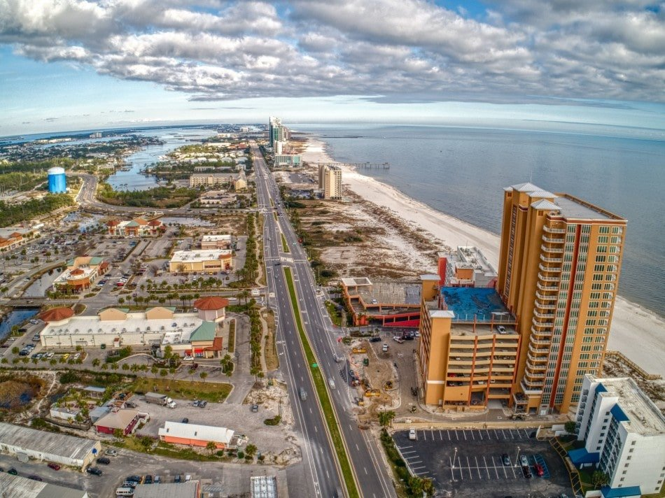 Arial view of Orange Beach and Junonia Beach Resort