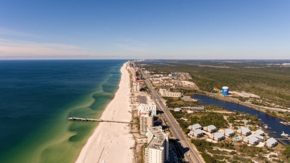 Aerial view over east Orange Beach, Alabama