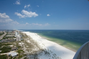 High view of Orange Beach from condo balcony
